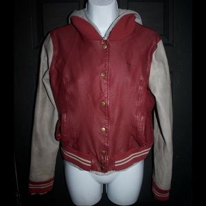 OBEY Red Faux Leather Jacket W/ Hoodie
